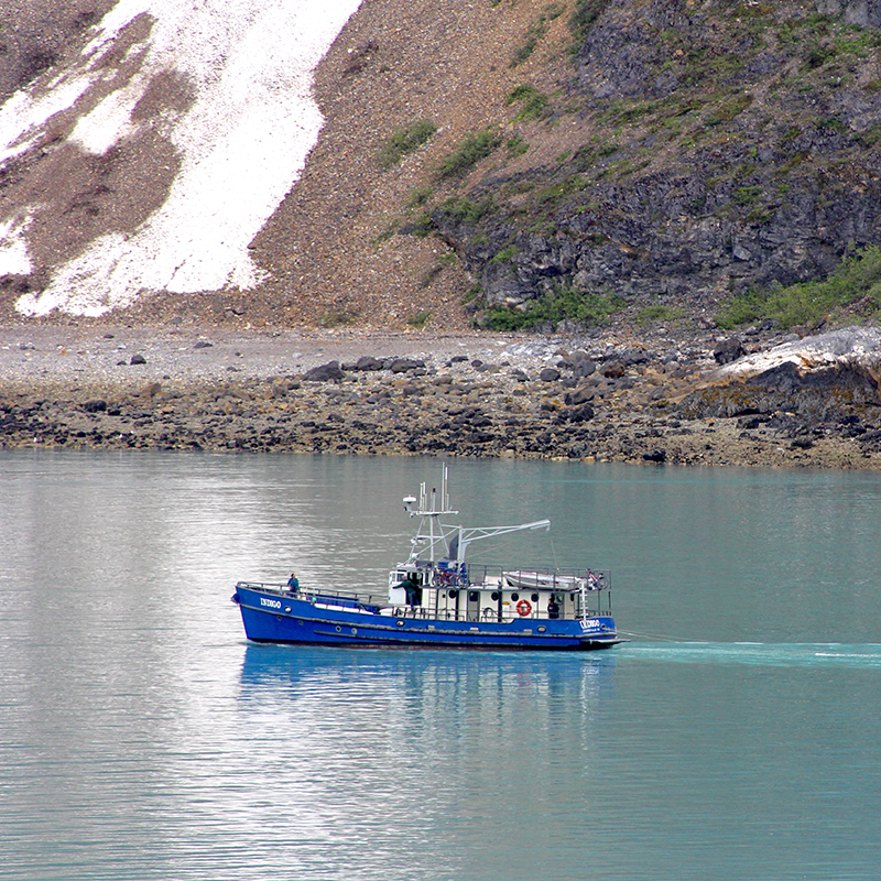 A fishing boat in Glacier Bay National Park