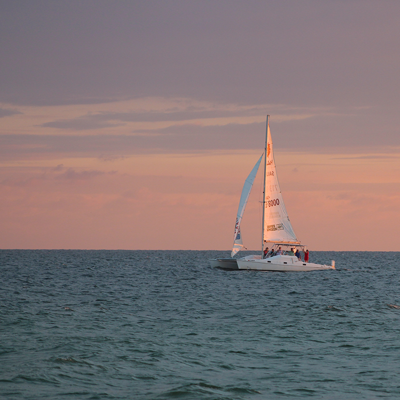 A sailboat on the Gulf of Mexico.