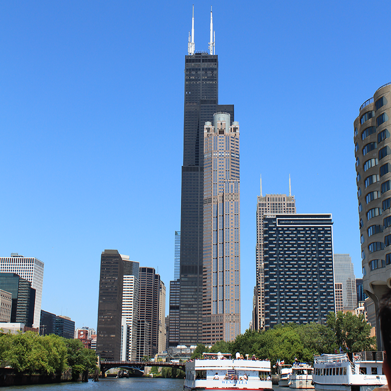 The Chicago skyline, as seen from a river tour.